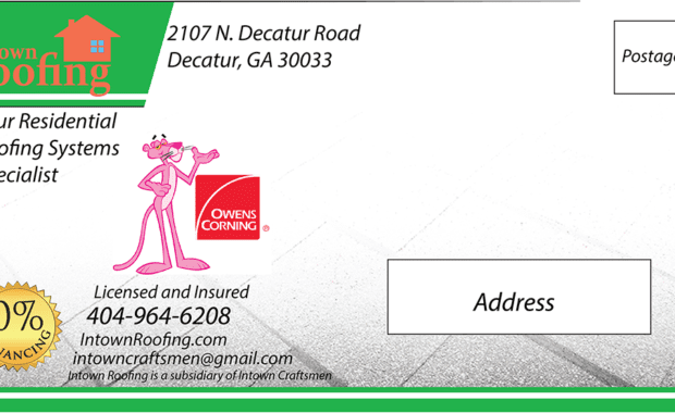 Roofing company marketing postcard