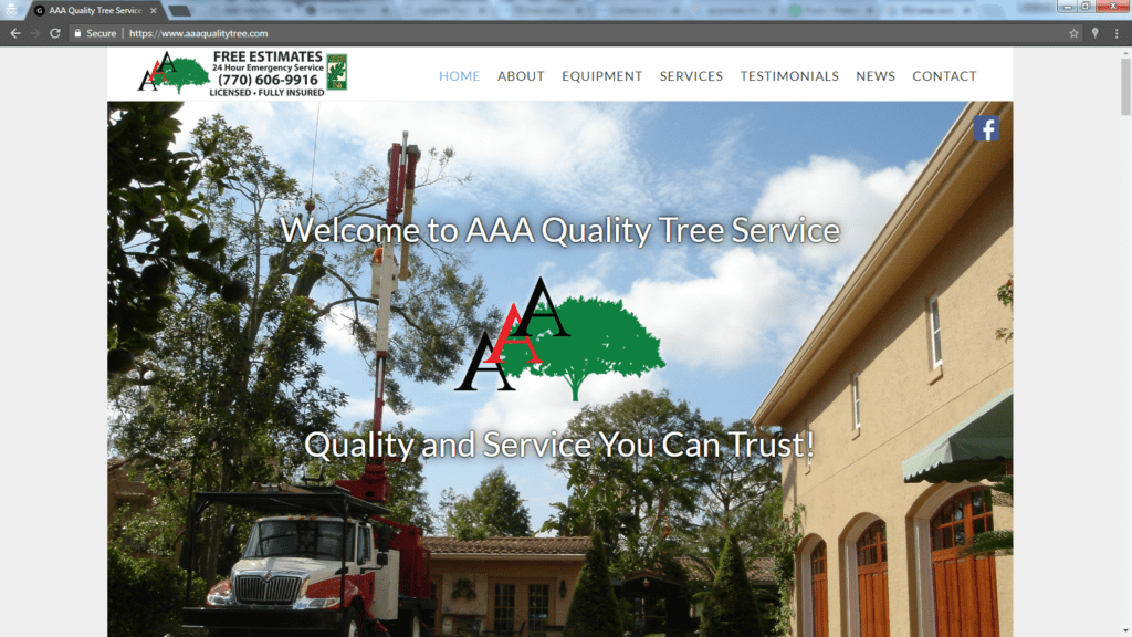 AAA Quality Tree Service website